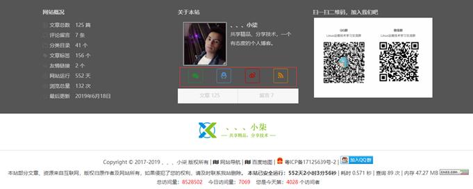知更鸟Begin主题侧边栏关于本站:微信、QQ、微博、订阅按钮底色美化